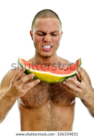 Muscular man holding watermelon. Isolated on white - stock photo