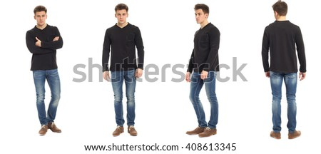 Muscular man in jeans isolated on white
