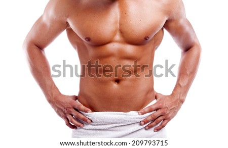 Muscular man in towel, isolated on white