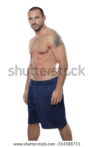 Muscular man pose,isolate on white - stock photo