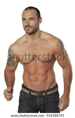 Muscular man pose,isolate on white