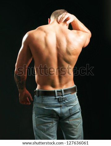muscular man back neck ache isolated stock photo edit now