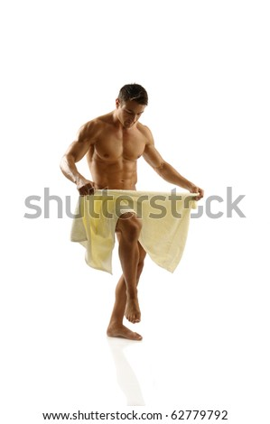 Muscular Man with towel - stock photo