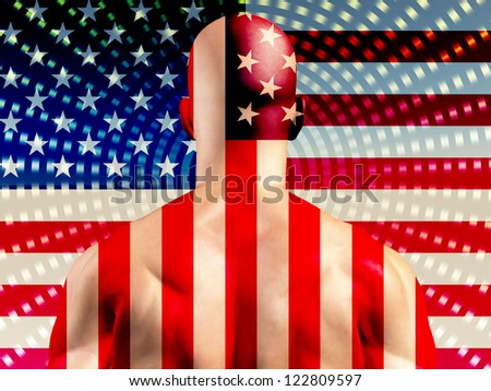 Muscular Man with USA Flag