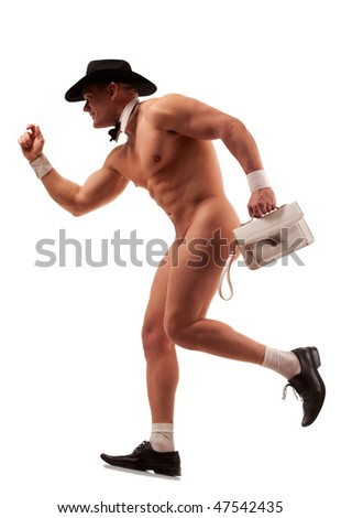 Muscular naked male stripper running with ladies' purse - stock photo