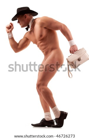 Muscular naked male stripper with lady purse over white - stock photo