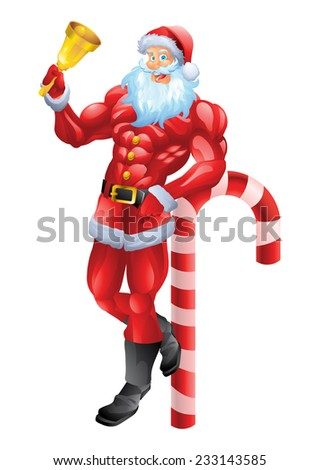 Muscular Santa Claus leaning on candy cane - stock photo