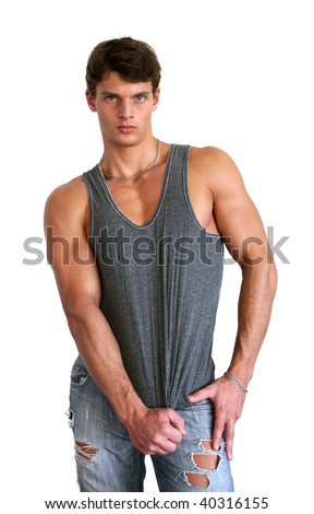 Muscular sexy man in gray tank top isolated on white - stock photo