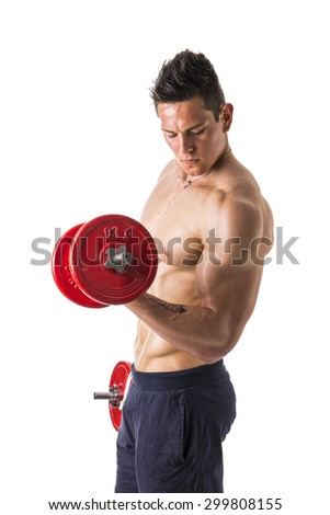 Muscular sexy shirtless young man exercising biceps with dumbbells, isolated on white - stock photo