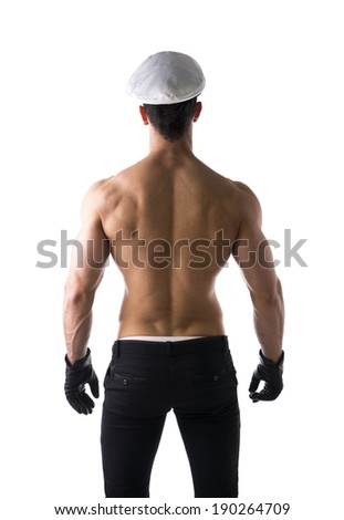 Muscular shirtless male sailor with nautical hat, isolated on white - stock photo