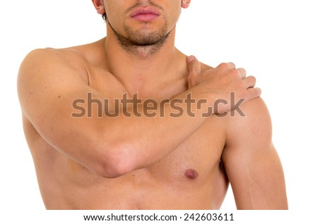 muscular shirtless man with shoulder pain isolated on white - stock photo