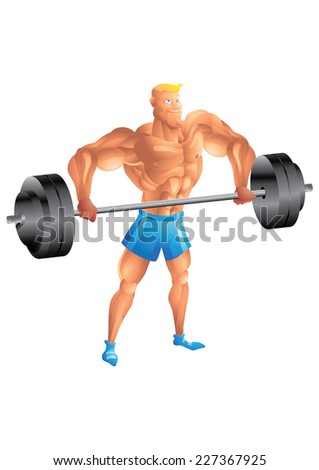 Muscular white guy weightlifting - stock photo
