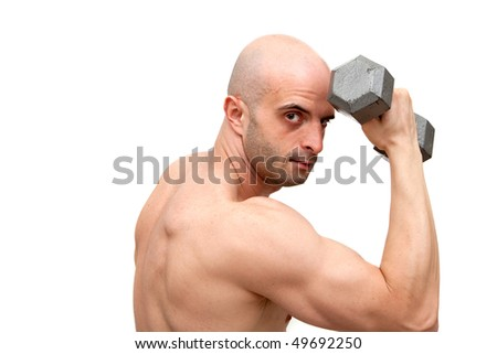 Muscular young man body building
