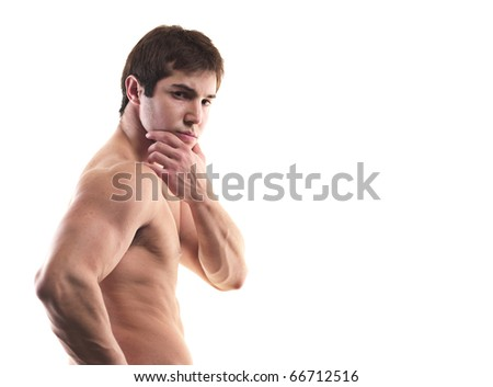 Muscular young man on white background