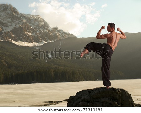 Muscular young man practicing martial arts moves and poses in the romantic yet harsh surroundings or lake Eibsee with Germany's highest mountain Zugspitze in the background. - stock photo