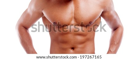 Muscular young man's torso closeup, isolated on white background