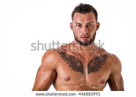 Muscular young man shirtless on white - stock photo