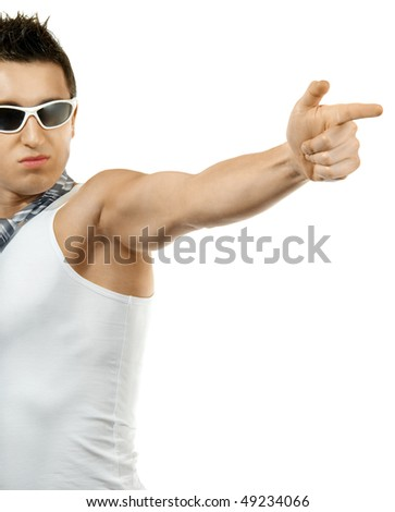 muscular young man shoots finger