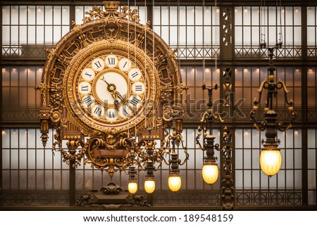 Musee d'Orsay Clock in Paris, France - stock photo