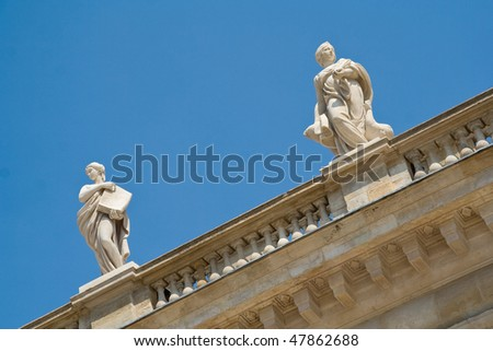 Muses sculptures on top of Bourdeaux Opera Music Hall - stock photo
