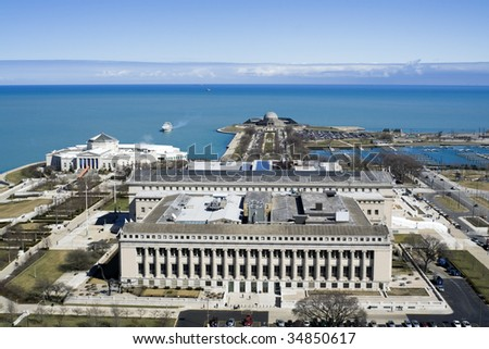Museum, Aquarium, Planetarium by the Lake Michigan. - stock photo