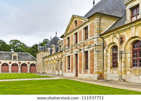 Museum crews (former stables) in Vaux-Le-Vicomte palace. Chateau de Vaux-le-Vicomte (1661) - baroque French Palace located in Maincy, near Melun, in Seine-et-Marne department of France.
