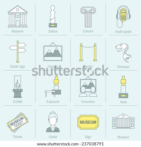 Museum icons flat line set of statue column audio guide isolated  illustration
