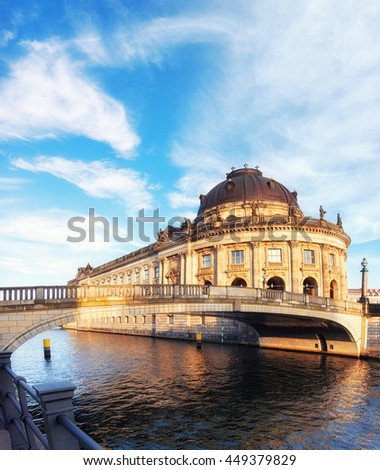 Museum island in Berlin on river Spree early afternoon. This image is toned. - stock photo