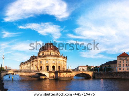 Museum island in Berlin on river Spree early in the afternoon. This image is toned. - stock photo