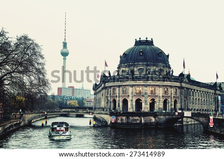 Museum island on Spree river and Alexanderplatz TV tower in Berlin, Germany - stock photo