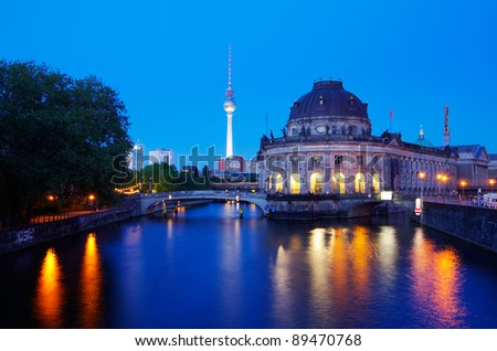 museum island with bode museum in berlin - stock photo