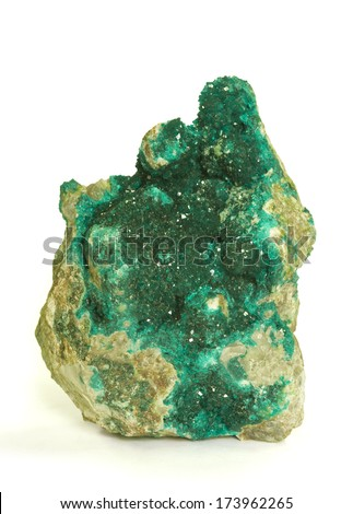 MUSEUM MINERAL SERIES: Dioptase (copper cyclosilicate) from Namibia. Isolated on white, 10.5cm across. - stock photo