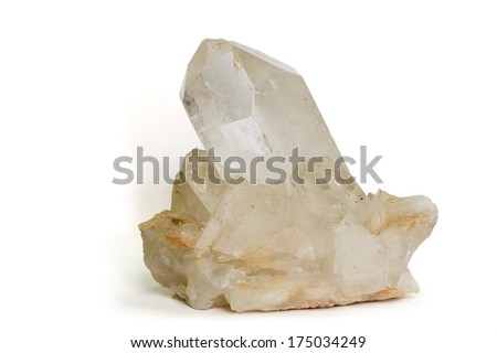 MUSEUM MINERAL SERIES: Large quartz crystal from Brazil. Isolated on white, 16cm across. - stock photo