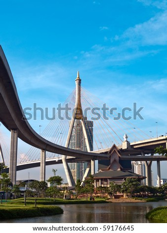 Museum of  Industrial Ring Road Bridge and Bhumibol Bridge, Samut Prakarn,Thailand