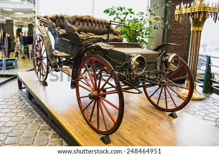 Museum of Technology Vadim Zadorozhnogo - Russia's largest private museum of art founded in 2005. Delahaye French carmaker founded by Emile Delahaye in 1895. Russia, Moscow, 24 January 2015 - stock photo