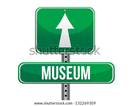 museum road sign illustration design over a white background