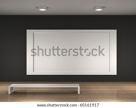 museum room with frame for text or photo - stock photo