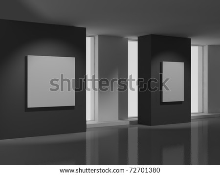 museum room with modern white paintings - stock photo