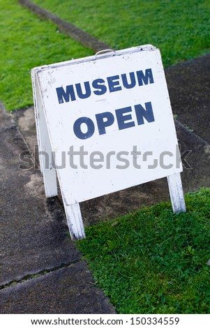 Museum sign on a sandwich board. - stock photo