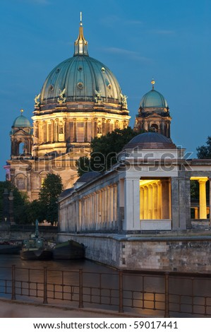 Museumsinsel in Berlin with Berliner Dom. River Spree in foreground. - stock photo
