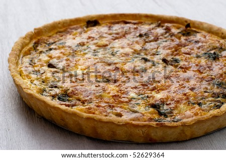 Mushroom and spinach quiche - stock photo