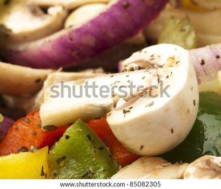 mushroom and vegetables mix, extreme closeup photo