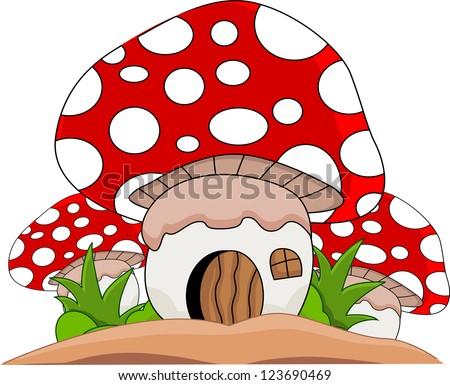 mushroom cartoon for you design - stock photo