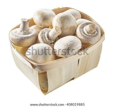 mushroom champignons in a basket isolated on white background - stock photo