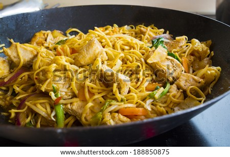 mushroom, chicken, or turkey and vegetable stir fry with fresh vegetables - stock photo