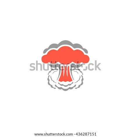 Mushroom cloud, nuclear explosion, silhouette. Color simple flat icon on white background - stock photo