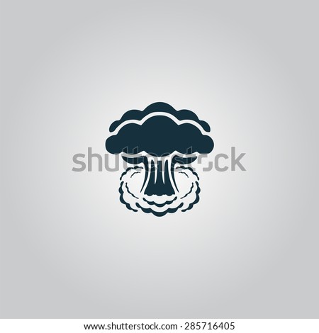 Mushroom cloud, nuclear explosion, silhouette. Flat web icon or sign isolated on grey background ...