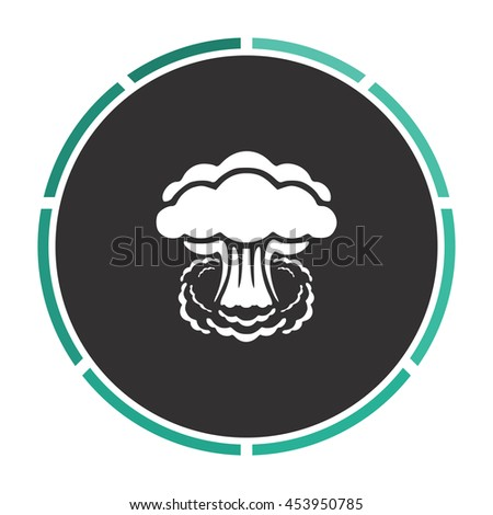 Mushroom cloud, nuclear explosion, silhouette. White circle button on black background - stock photo