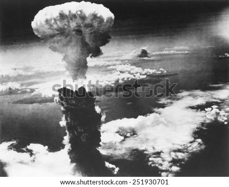Mushroom Cloud of Atom Bomb exploded over Nagasaki, Japan, on August 9, 1945. World War 2. - stock photo