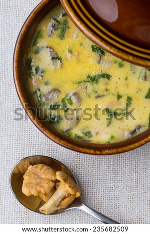 mushroom cream soup in bowl. Vertical image.